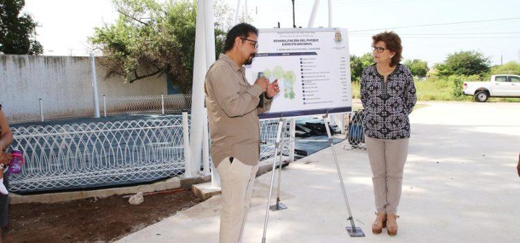 María Fritz supervisa rehabilitación de parques en el oriente y sur de Mérida