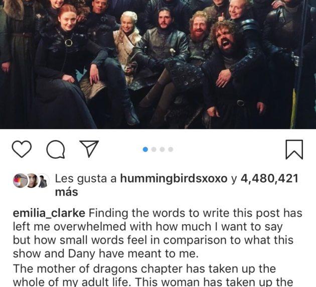 La emotiva despedida de Emilia Clarke en el día que se emite el final de 'Juego de tronos'