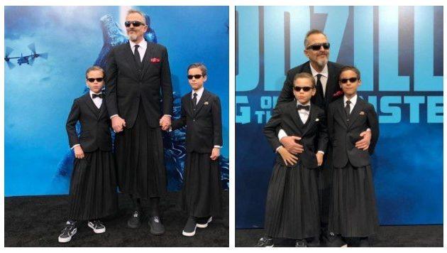 Miguel Bosé presenta a sus hijos en premier de Godzilla