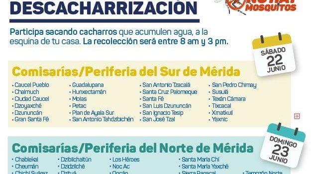 Sábado 15 de junio inicia la campaña de descacharrización