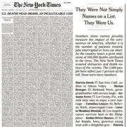 Portada de NYT recuerda a víctimas del Covid-19 en Estados Unidos