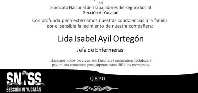 Jefa de enfermeras del IMSS Yucatán muere a causa de Coronavirus