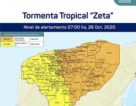 """Emiten Alerta Naranja, para más de la mitad de Yucatán por TT """"Zeta"""""""