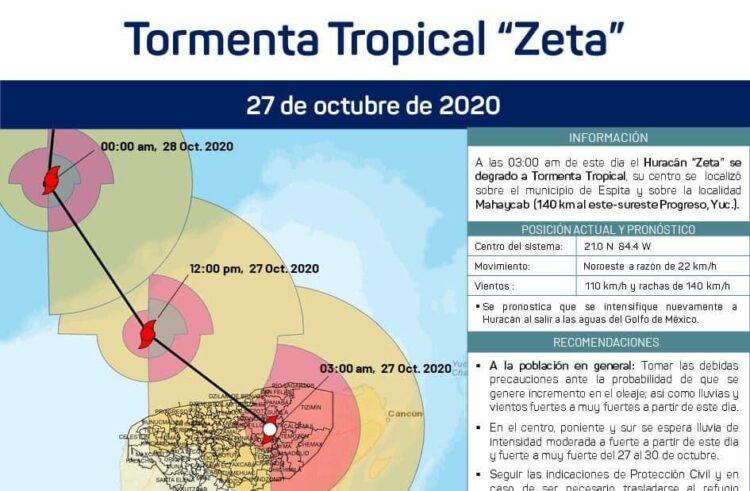 En Yucatán, el huracán Zeta se debilitó a Tormenta Tropical