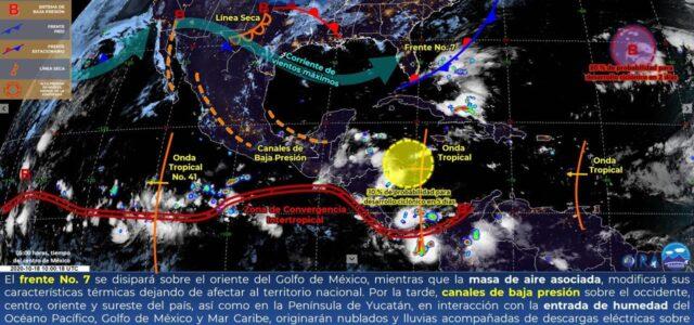 Conagua pronostica lluvia de moderada a fuerte en la tarde para Yucatán