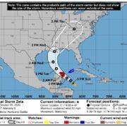 Zeta se convertirá en huracán categoría 1 en su paso por la Península de Yucatán